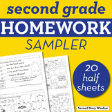 2nd Grade Math & ELA Homework Sampler