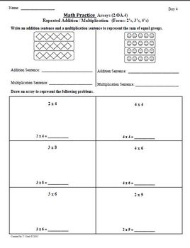 2nd Grade Math Enrichment: Introduction to Multiplication- (2.OA.4) PACKET 1