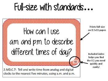 2nd Grade Math Essential Question Cards for Display