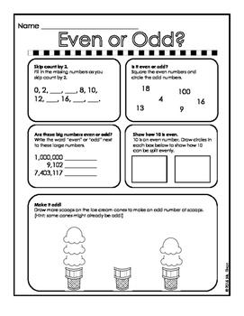 2nd Grade Math - Even & Odd Practice