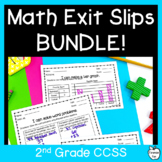 2nd Grade Math Exit Tickets Assessment BUNDLE! All CCSS!