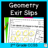 2nd Grade Math Exit Slips ~ Geometry CCSS ~ Shapes & Fractions