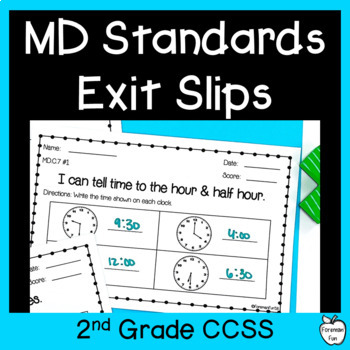 2nd Grade Math Exit Slips ~ Measurement, Data, & Telling Time