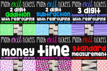 2nd Grade Math Exit Ticket Bundle - 260 Math Assessments