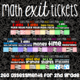 2nd Grade Math Exit Ticket Bundle - 260 Math Assessments