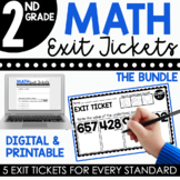 2nd Grade Math Exit Tickets (Exit Slips) Bundle | Printable & Digital Included