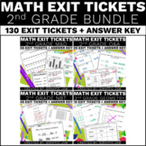 2nd Grade Math Exit Tickets Bundle Common Core Aligned No Prep