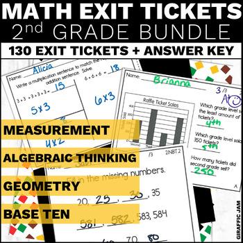 2nd Grade Math Exit Tickets Bundle Common Core Aligned No Prep