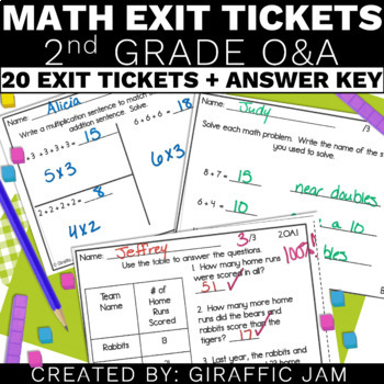 2nd Grade Math Exit Tickets for Every OA Standard