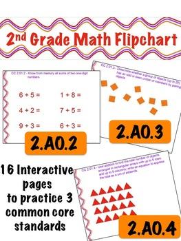 2nd Grade Math Flipchart - Common Core 2.AO.2 , 2.OA.3, & 2.OA.4