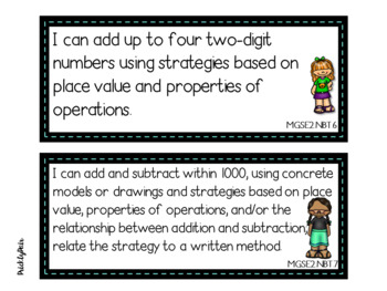 2nd Grade Math GSE Georgia Standards of Excellence Posters -Kids Theme