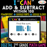 2nd Grade Math Game DIGITAL | Add & Subtract within 100  | Distance Learning