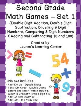 2nd Grade Math Games - Set 1 - Common Core Aligned