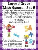 2nd Grade Math Games - Set 5 - Common Core Aligned