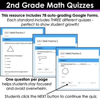 2nd Grade Math Google FORMS | 2nd Grade Math Assessments for Google Classroom