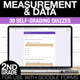 2nd Grade Math Google FORMS - Measurement and Data : 30 Quizzes