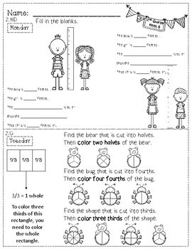 2nd Grade Math Homework - 2nd Quarter