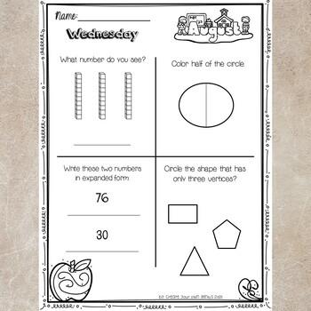2nd Grade Math Homework- August