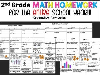 2nd Grade Math Homework {ENTIRE SCHOOL YEAR!}