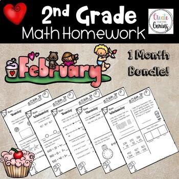 2nd Grade Math Homework- February