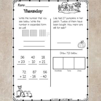 2nd Grade Math Homework- November