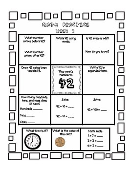 2nd Grade Math Homework for ENTIRE YEAR - Place Value(just 2 digit), Time, Money