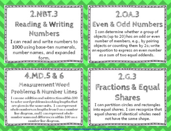 "2nd Grade Math ""I CAN"" Statements for Common Core State Standards (Second)"