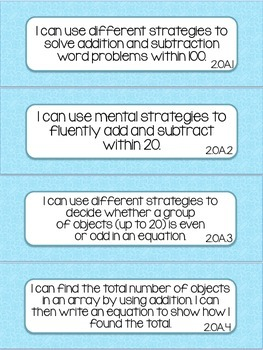 2nd Grade Math I Can Statement - Colorful Theme