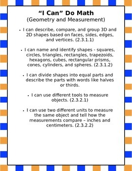"2nd Grade Math ""I Can"" Statements"