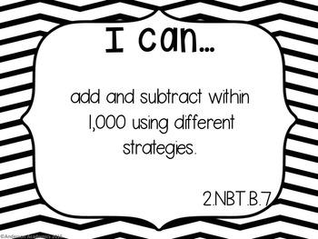 "2nd Grade ""I Can"" Statements: Math - Black & White"