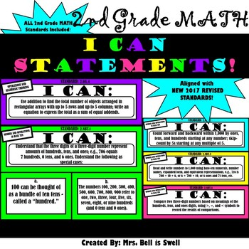 """2nd Grade Math """"I Can Statements"""" (Common Core Aligned)"""