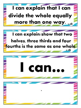 2nd Grade Math- I Can Statements for Common Core