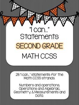 2nd Grade Math I Can statements- Striped Theme