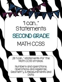 2nd Grade Math I Can statements- Wavy Stripe theme