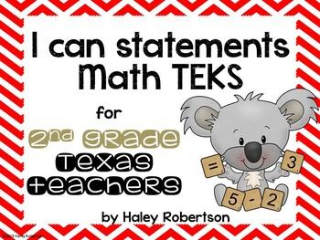 """2nd Grade Math """"I can"""" statements- Chevron pattern (using TEKS)"""