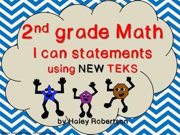 """2nd Grade Math """"I can"""" statements- blue Chevron pattern (u"""