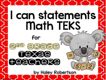 "2nd Grade Math ""I can"" statements- Tile pattern (using TEKS)"