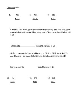 2nd Grade Math In Focus Parallel Practice Test Chapter 2 Addition to 1,000