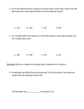 2nd Grade Math In Focus Parallel Practice Test Chapter 4 Using Bar Models