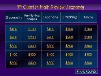 2nd Grade Math Jeopardy: Geometry, Partitioning, Fractions, Arrays