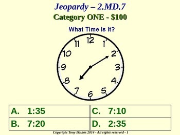 2nd Grade Math Jeopardy Game - 2 MD.7 Practice of Time Measurement 2.MD.7