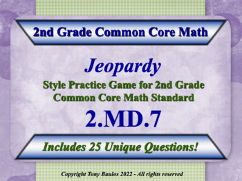2nd Grade Math Jeopardy Game - 2 MD.7 Practice of Time Mea