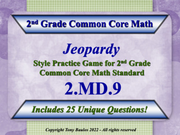 2nd Grade Math Jeopardy Game - 2 MD.9 Measurement and Data 2.MD.9