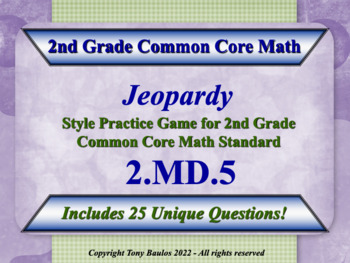 2nd Grade Math Jeopardy Game - Addition And Subtraction Word Problems 2.MD.5