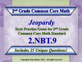 2nd Grade Math Jeopardy Game - Addition & Subtraction Word Problems 2.NBT.9