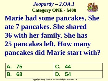 2nd Grade Math Jeopardy Game - Addition and Subtraction Word Problems 2.OA.1