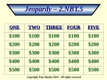 2nd Grade Math Jeopardy Game Bundle Pack - OA 1-4 & NBT 1-9
