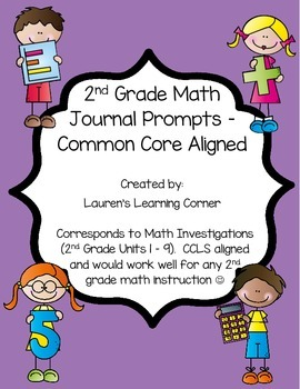 2nd Grade Math Journal Prompts - Common Core Aligned - Uni