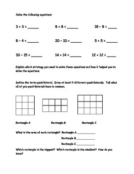 2nd Grade Math Journal Prompts - Unit 2 Investigations