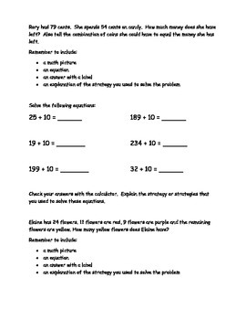 2nd Grade Math Journal Prompts - Unit 6 Investigations